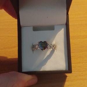 Mystic Topaz heart shaped ring
